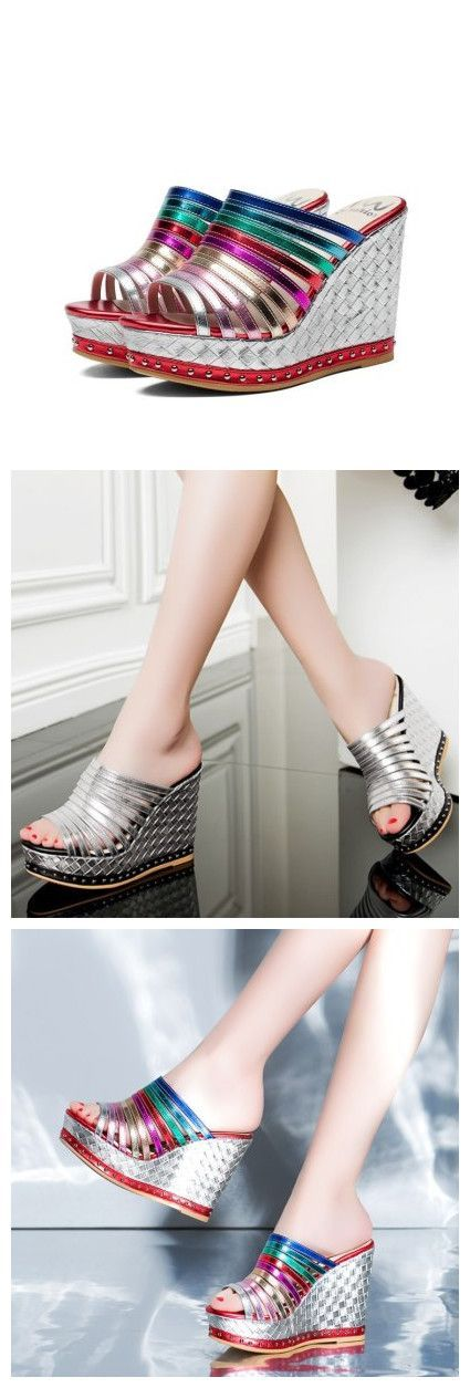 Slip-On Heel Color Block Patchwork Women's Sandals