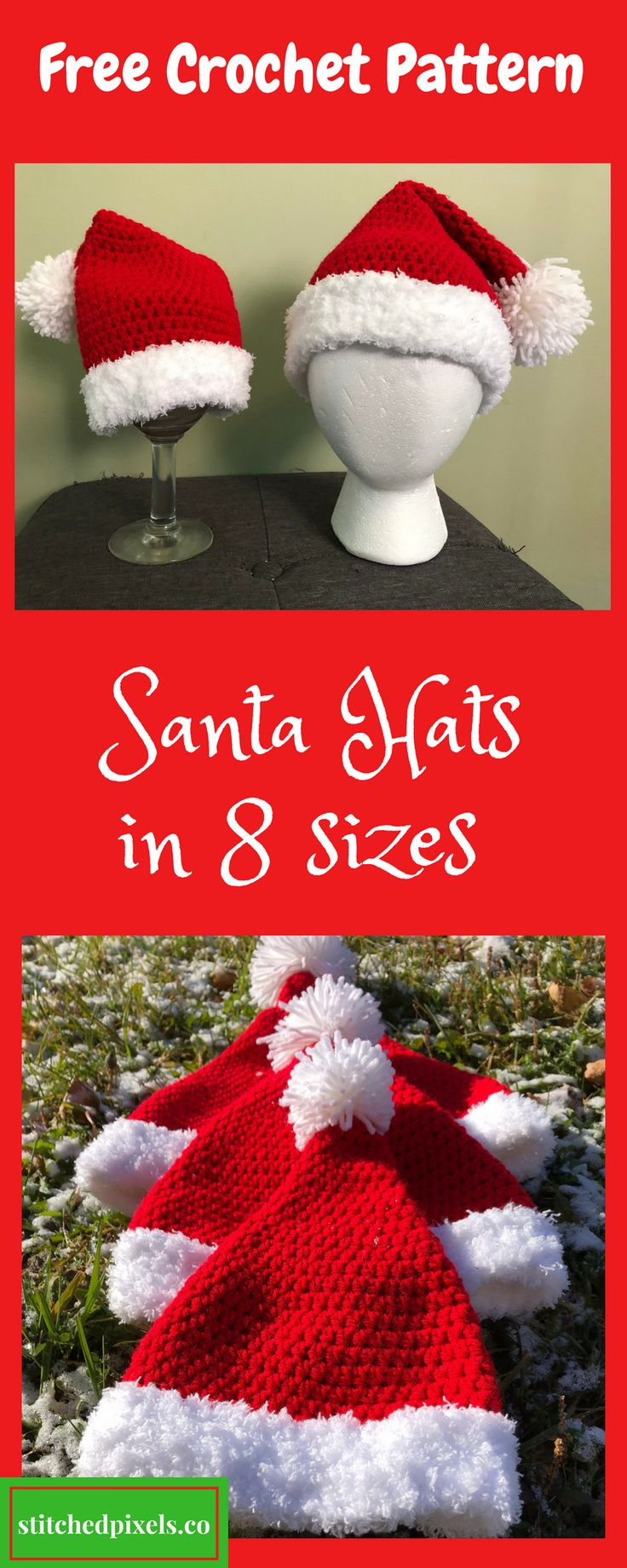 Use this free crochet pattern to make your own Santa Hat in a variety of sizes.