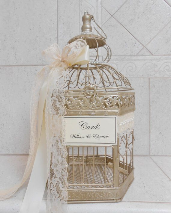 Medium Champagne Gold Pearl Birdcage Card Holder / by ThoseDays