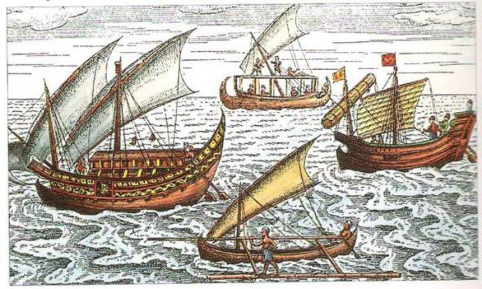 Kapal di lepas pantai Jawa seperti yang digambarkan oleh Lodewijcks, The First Dutch Expedition