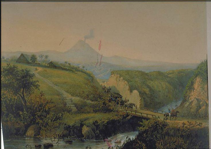 Een landschap in de buurt van Malang. Abraham Salm, 1865-1872. papier, 26,4 x 36,2 cm