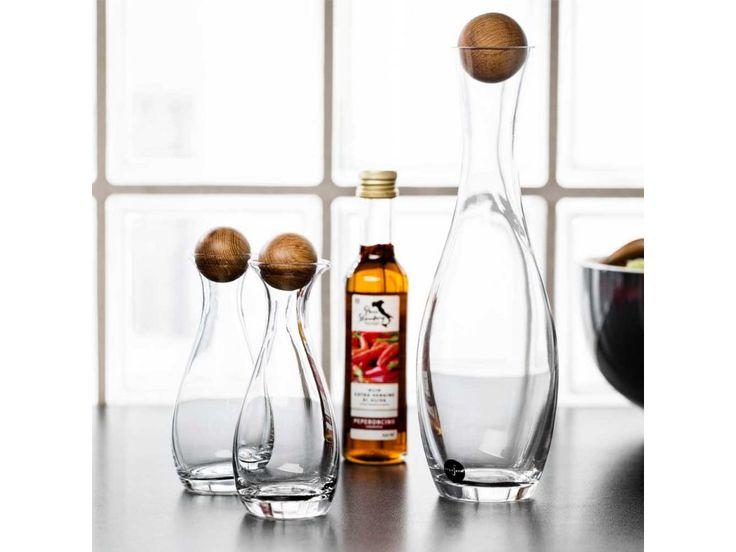 Karafa na vino s dřevěnou kuličkou SAGAFORM Oval Oak 1L. Skleněná karafa na bílé…