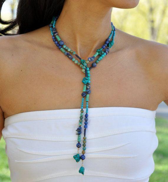 Turquoise Lariat Necklace, Blue Lapis Lazuli, Southwest Jewelry, Mothers Day Gift via Etsy