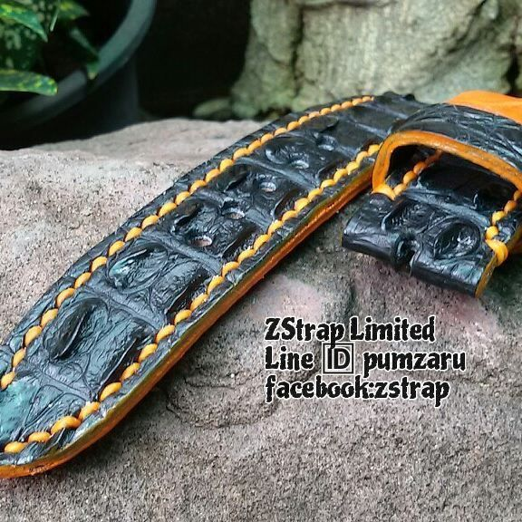 ZStrap Limited . Made to order  handmade black horn back crocodile leather strap with orange stitching for Panerai. 24/24mm. 140/80 mm. (accept PayPal & world wide shipping)  www.facebook.com/zstrap  Line ID: pumzaru  #zstrap #watches #watchstrap #watch #straps #strap #panerai #pam #seiko #seikomonster #seikomonster #rolex #rolexeuro #sevenfriday #deisel #omega #leatherstrap #leather #leatherwork #leathercraft #handmade #handcraft #accessories #limitededition  #exotic #python…
