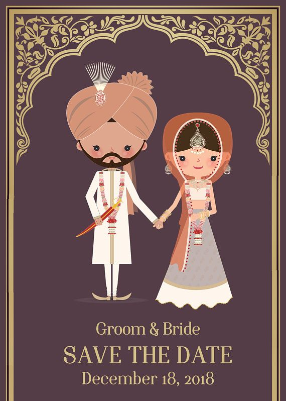 Sikh Indian Wedding Save The Date Customizable Painting