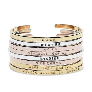 fabulous. word bangles you can collect and stack.Design Inspiration, Cuffs Bracelets, Arm Jewelry, Stacked Bracelets, Awesome Accessories, Gk Design, Inspiration Bracelets, Jewelry Ideas, Rose Gold