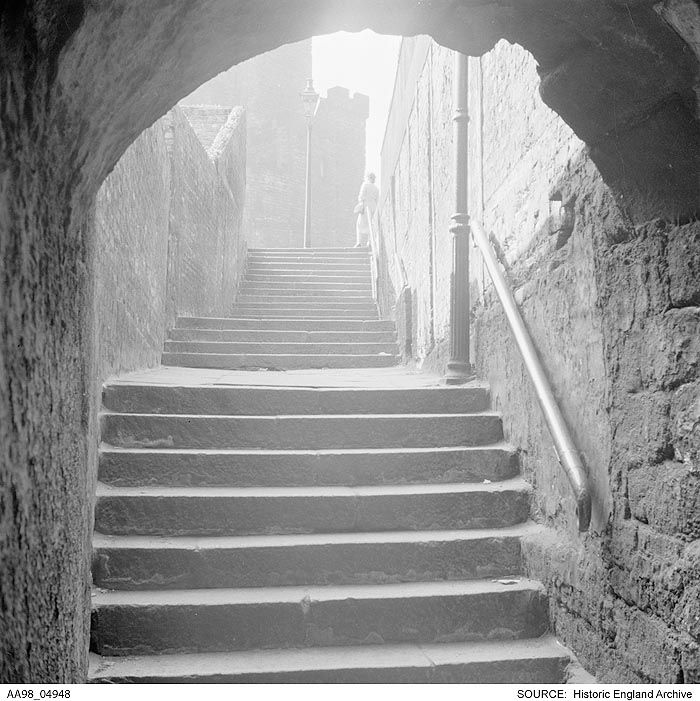 AA98/04948 Eric De Mare.  General view showing steps leading up to the castle in Newcastle-upon-Tyne.    Date1945 - 1980 Photographer: Eric De Mare