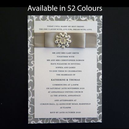 Ribbon Wedding Invitations With A Diamante Embellishment. The Backing Card  Is Printed With An Ivy