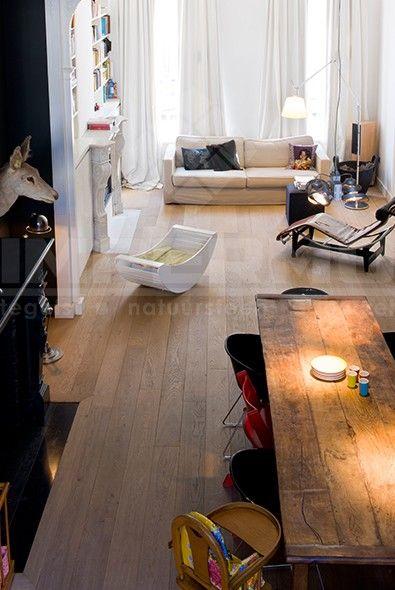 parket, meerlagig parket, planken vloer, eiken vloer, la maison du bois, impermo, woonkamer, eetkamer, modern interieur, goedkoop parket, design zetel