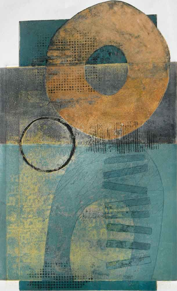 "Distant Homage, by Anne Moore, monotype, 21""X13"""