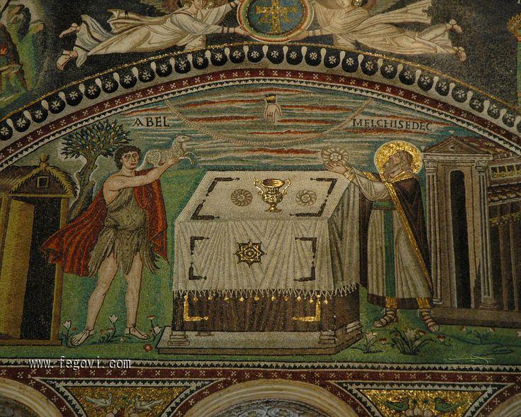 ***Abel y Melquisedec. Mosaico del presbiterio de San Vital de Rávena, S.VI. La iconografía del Rey de Salem se desliga  de la de Abraham apareciendo con vestiduras sacerdotales presentando al Señor la ofrenda de los panes junto a Abel ante el altar de la Eucaristía.