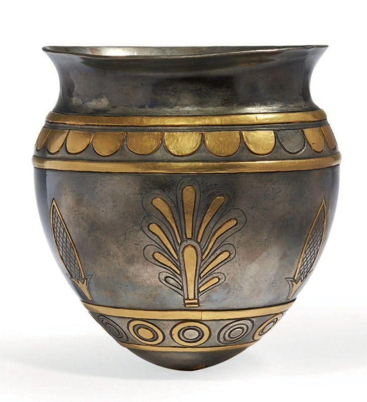 Neo Elamite gilded silver vase with cuneiform inscription