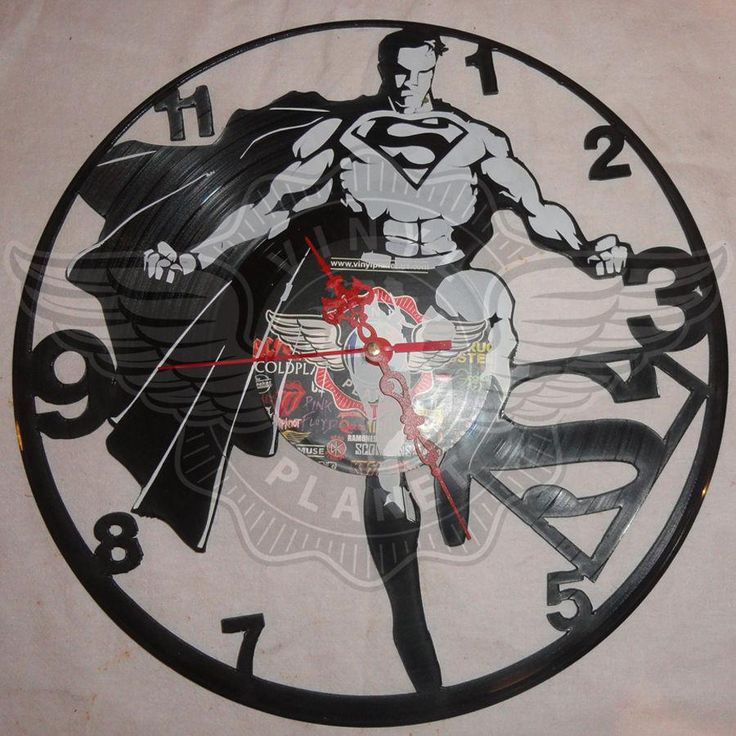VINYL PLANET Wall Clock SUPERMAN Home Record Unique Decor upcycled 12''