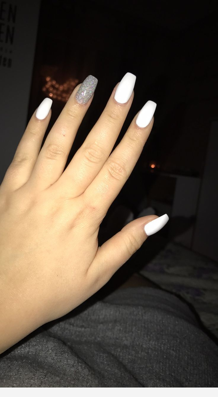 White Acrylic Nails White Acrylic Nails Silver Acrylic Nails Acrylic Nails