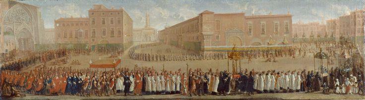 MICHEL,Jean II LA PROCESSION DES CORPS SAINTS SORTANT DE LA CATHEDRALE SAINT-ETIENNE © STC - Mairie de Toulouse,1700 vers tableau Peinture Toile Peinture à l'huile (cm): 69,5х20.