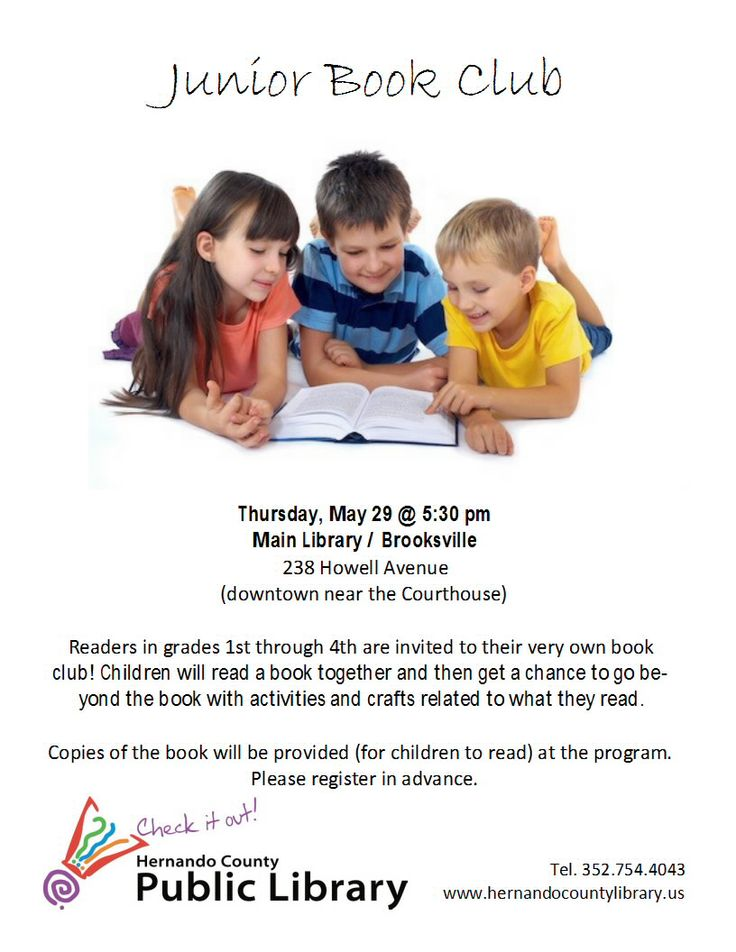 Junior Book Club! Thursday, May 29th at the Main (Brooksville) Branch.