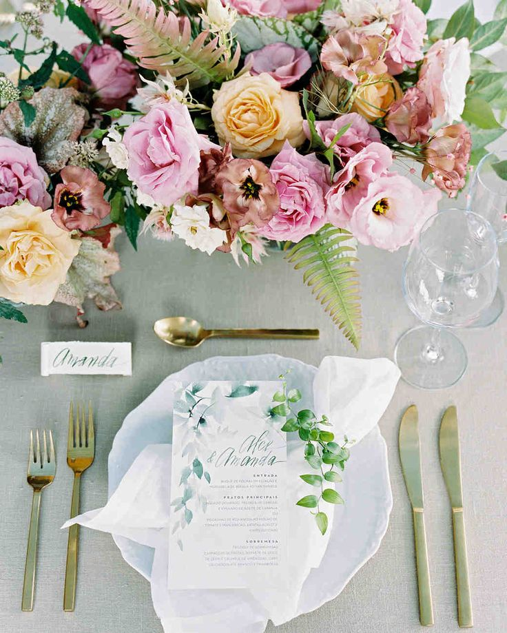 A Peach-and-Pink Garden-Themed Wedding in Brazil | Martha Stewart Weddings - Place settings included gold flatware, candles, and scrolled calligraphy seating cards, as well as illustrated menus and pink, peach and white centerpieces.
