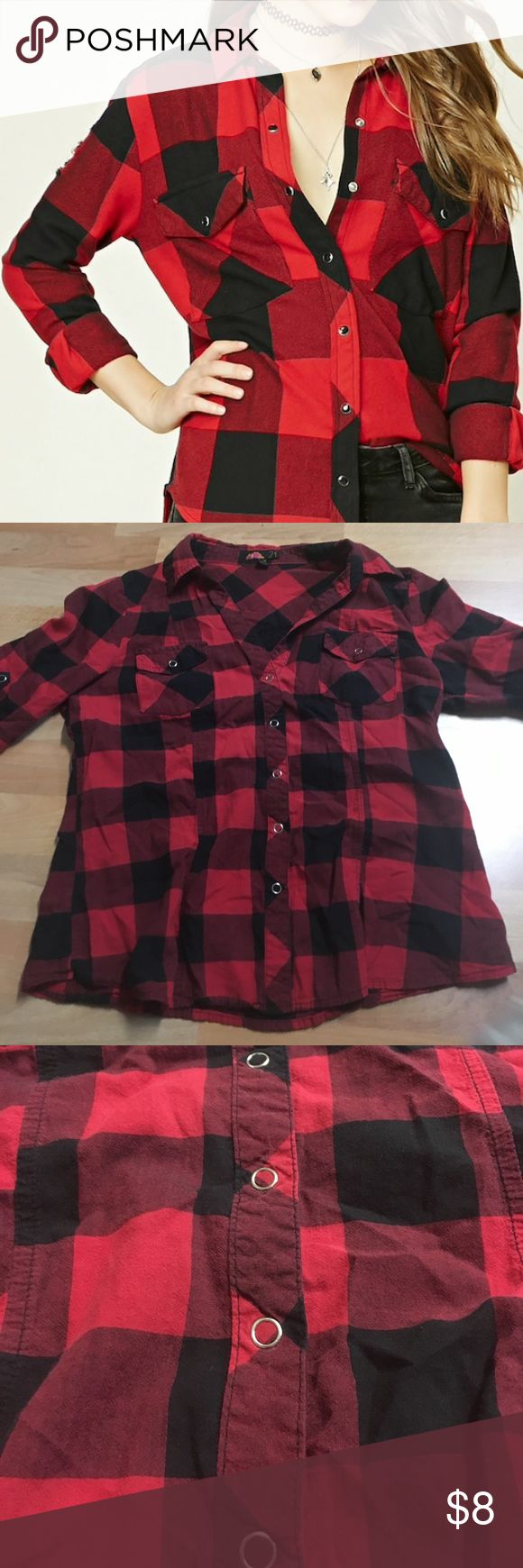 Black and Red Gingham Shirt Red and black gingham snap button up. Sleeves are half length. Runs small. Forever 21 Tops