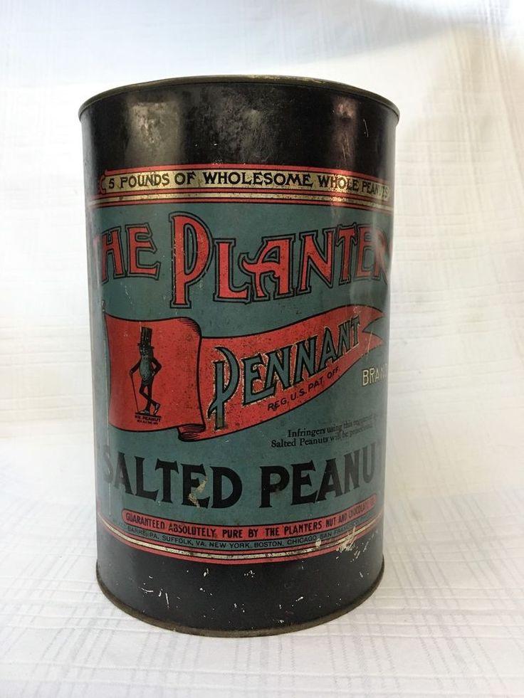 "Planters Peanuts ""Pennant Brand""  5 Lb. Tin Can #PlantersPeanuts"