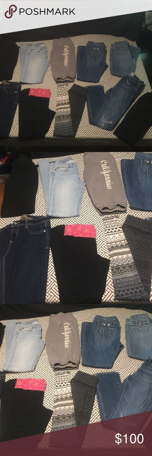 Girls Sz 14/16 10 pc pant/jeans bundle Most are in excellent condition a few have been worn quite a bit and do have a couple flaws brands include Levi, denizen by Levi, candies, Abercrombie, live love dream by Aeropostale, almost famous, children's place etc. most skinny/ straight leg also a few bootcut, Levi's Jeans