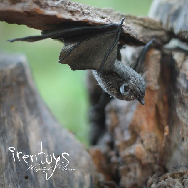"Handmade stuffed toy ""The bat"".  Size: body - 3.5 cm, wingspan - 18 cm.  Materials: fur, suede, wire, plastic, wool, glass eyes."