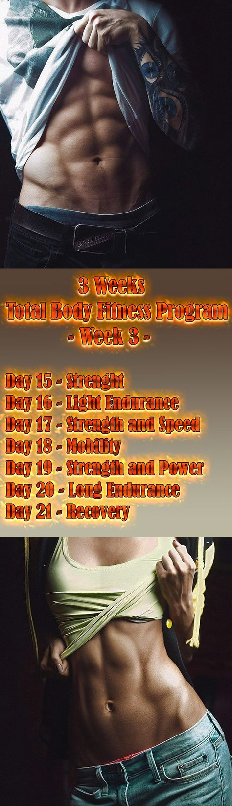 Follow this total body fitness program and you'll emerge 21 days later stronger, faster, and more flexible — and looking and feeling better... #FitnessProgram #WeightLoss #workout #Fitness #strength #chest #abs #legs