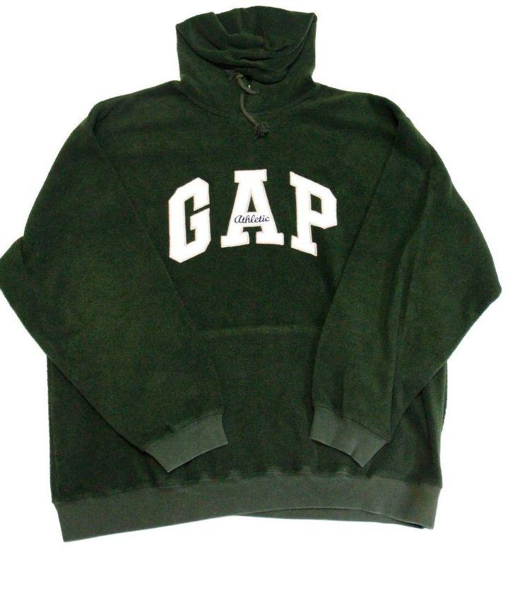GAP Men's Hooded Dark Green Fleece Pullover Sweatshirt Size XL #GAP #Hoodie
