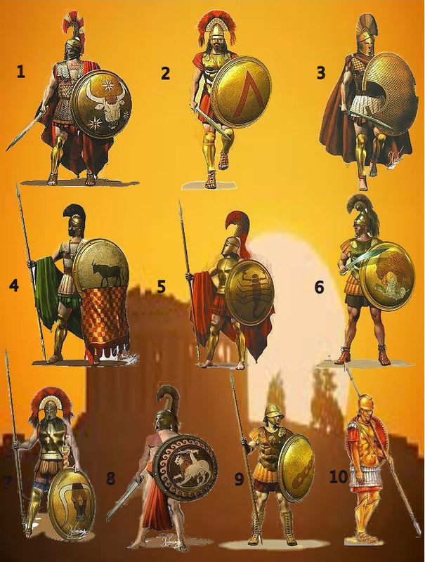 1- Oficial ateniense 2- Oficial espartano 3- Hoplita de Platea 4- Hoplita ateniense 5- Hoplita espartano 6- Hoplita de Elis 7- Guerrero espartano 8- Marino Sikyonio 9- Hoplita tebano 10 - Falangita macedonio