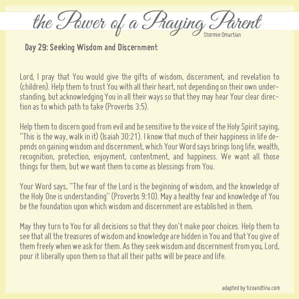 Prayer for discernment - Praying for Your Children from Stormie Omartian - Day 29