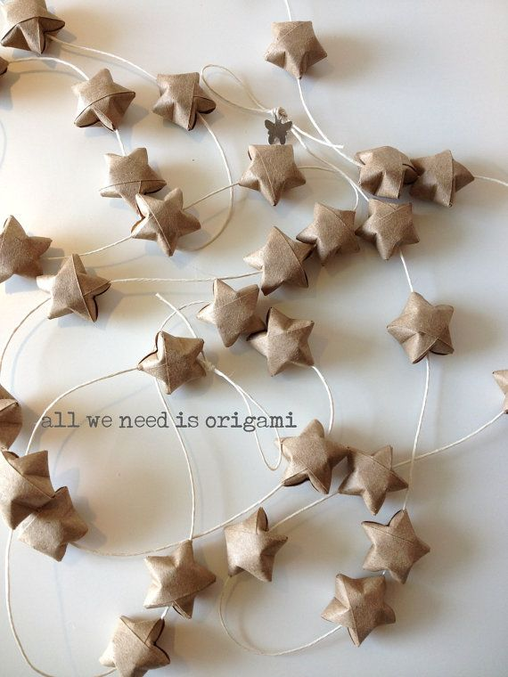 Paper star garland. On the backdrop, at the tables, everywhere.