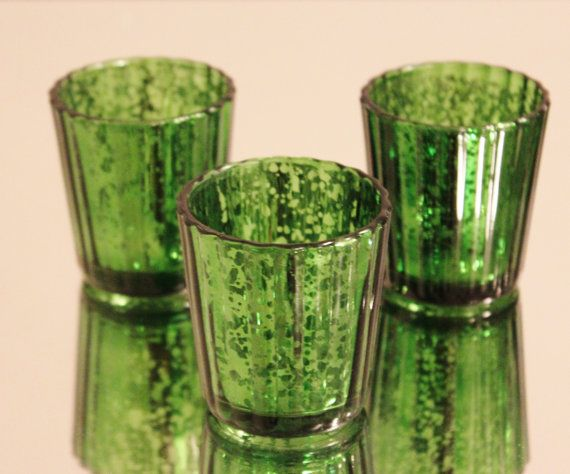 Set Of 10 Mercury Glass Green Speckled Glass Emerald Olive
