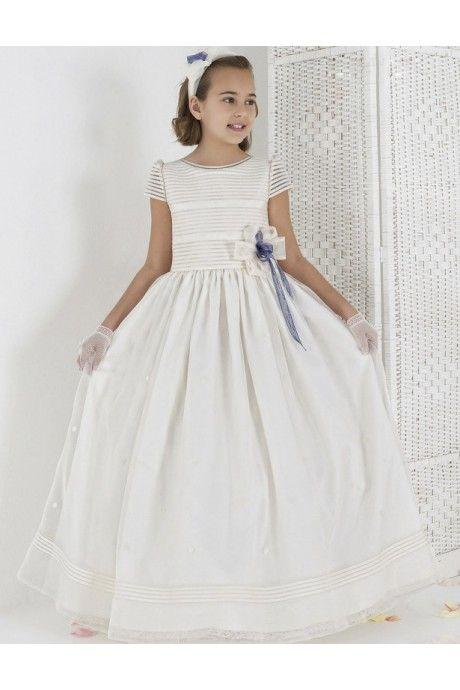 足首丈 サテン 袖つき ボールガウン フラワーガールドレス 子供ドレス Fab0011