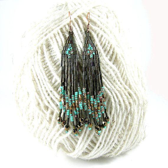 Long ethnic style bugle bead earrings  dark brown by Taurielscraft, $20.00,  #beadwork, #earrings, #native