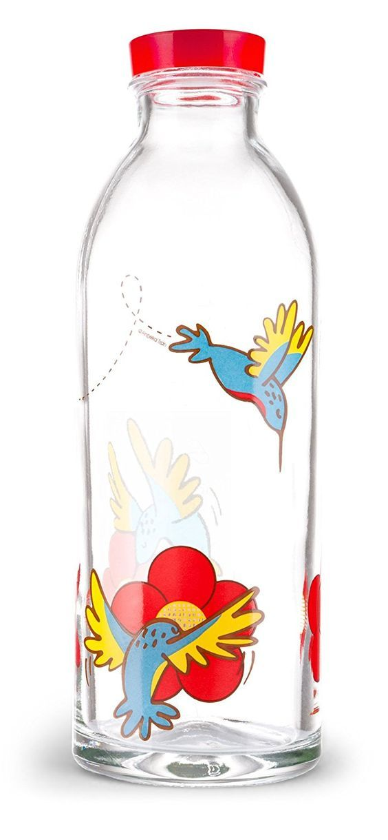 Hummingbird Feeder Reusable Glass Water Bottle By Faucet Face, 14.4 Oz.  Kitchen & Dinin