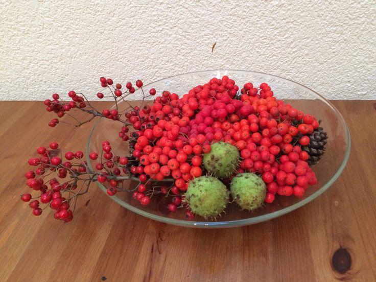 Landhausdeko Schale herbstlich dekoriert Herbstdeko - kleines Geschenk aus der Natur II