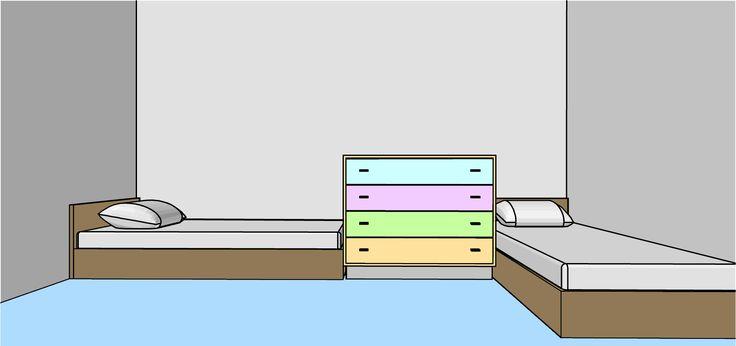 boy girl in same room, two beds in bedroom, two kids in bedrrom, bedroom arrangement, bed arrangement, boy girl bedroom