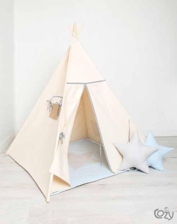 indian teepee kids play tent tipi basic grey by cozydots on Etsy