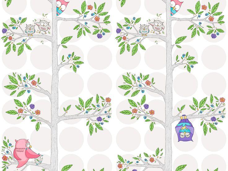 Tasmanian designed 'Owls' wallpaper, printed by Muur Graphics. www.muurgraphics.com.au