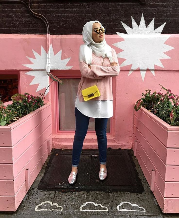 Hijab + Pink Sweater + Layered White Shirt (summeralbarcha)