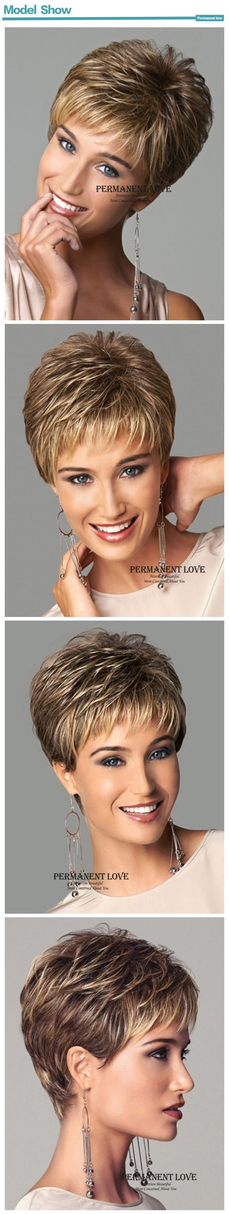 www.amazon.com/dp/B071H7WKTW  Short Pixie Cut Ladies wig Brown mixed Golden Blonde Highlights Synthetic Haircut Layered with bangs wig For Mother