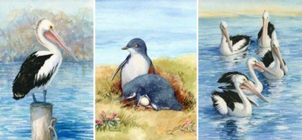 Prints – Pelicans and Waterbirds. Rhonda's Art is a collection of original watercolour, mixed media and silk paintings by Gosford artist Rhonda N. Garward.