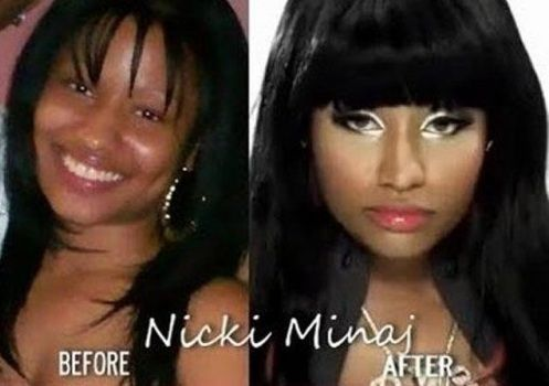 Nicki Minaj - Before and After Makeup.  Proof that going natural is more beautiful.