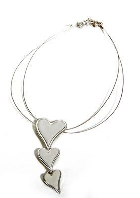 Hjerter Three Brushed Silver Heart Short Necklace  www.karmeleons.com.au
