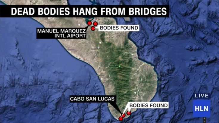 The bodies of six men were found Wednesday hanging from bridges in the Mexican state of Baja California Sur, the state's attorney general's office said.  Four bodies were found in the municipality of Los Cabos, the other two near the state capital of La Paz. The bodies were found suspended from three bridges located near the two main international airports and the highways leading to the popular beach resort of Cabo San Lucas.