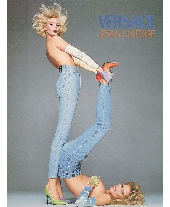 Claudia Schiffer and Nadja Auerman for the Versace Jeans Couture campaign, photographed by Richard Avedon in 1995.
