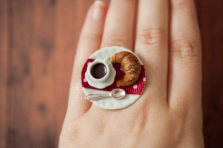 Large Coffee and Croissant Ring / Large cocktail ring / food ring / dollhouse miniature / food jewelry / coffee cup ring / romantic jewelry by Ilianne on Etsy https://www.etsy.com/listing/164544340/large-coffee-and-croissant-ring-large