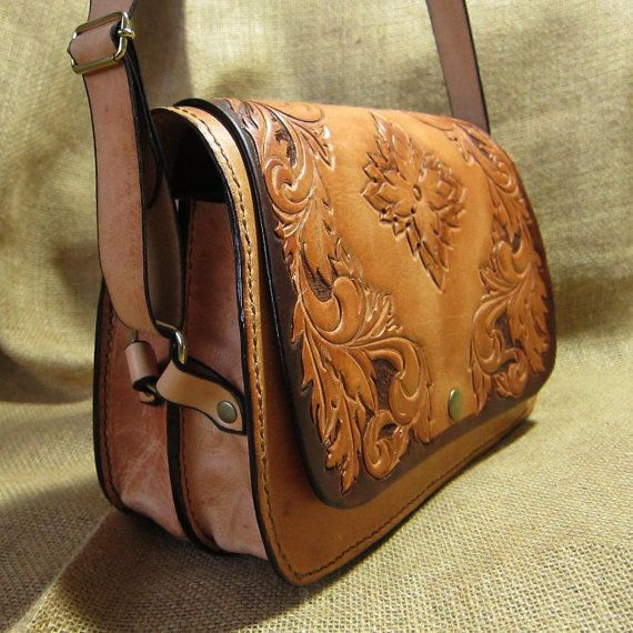 Leather shoulder bag Carmen carved natural tone by CARACODA, £179.99
