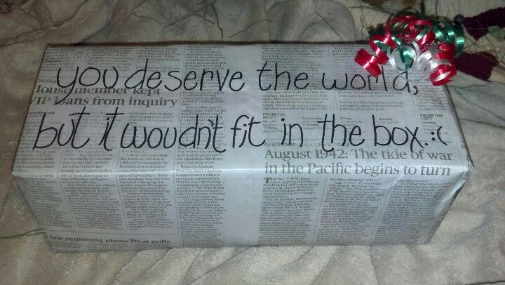 My newspaper wrap job for my very best friend's Christmas gift! :)