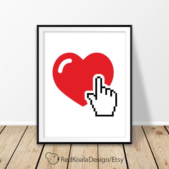 Heart print Digital Pixel cursor hand Wall art Printable Love Valentine's Day Red heart decor Gift for her Bedroom decor Poster Wedding by RedKoalaDesign on Etsy