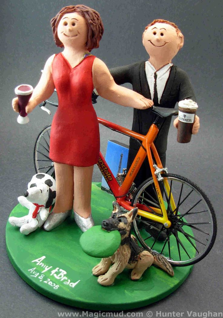 Bride in Red Dress Wedding Cake Topper by http://www.magicmud.com   1 800 231 9814  magicmud@magicmud.com  http://blog.magicmud.com  https://twitter.com/caketoppers         https://www.facebook.com/PersonalizedWeddingCakeToppers  #bicycle#bike#cyclist#mountain_bike#wedding #cake #toppers  #custom #personalized #Groom #bride #anniversary #birthday#weddingcaketoppers#cake toppers#figurine#gift#wedding cake toppers